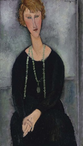 la femme au collier vert madame menier by amedeo modigliani
