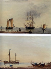 stowing the sails on a french sloop (+ shipping in a calm off the coast; pair) by john ward of hull