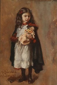 a girl with her doll by markus frederik steen gronvold