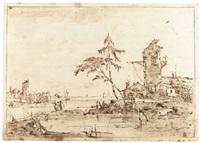 lagoon capriccio with a tower by francesco guardi