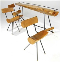 log bar with three matching stools (4 works) by sabena
