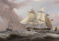 "the east indiaman ""earl balcarres"" hove-to and dropping her pilot off dover by william john huggins"