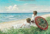 the red parasol. two young women in light summerdresses on the beach by paul gustave fischer