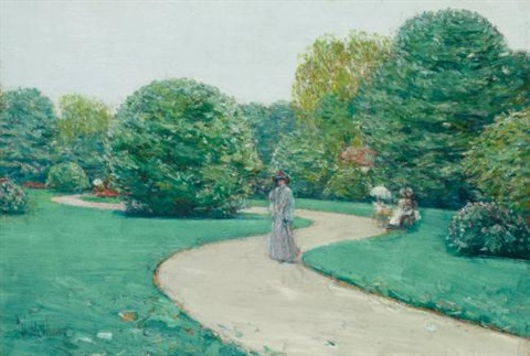 parc monceaux paris by childe hassam