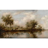 landscape with river and figures on bank by salomon van ruysdael