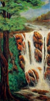 waterfall at huang shan by liu kang