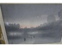 london smog - green park, buckingham palace beyond; and putney bridge from the south by yoshio markino