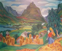 mountainous landscape with harvesters and haystacks by nils krantz