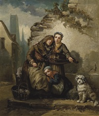 mujer ciega con niño y perro by alexandre antigna