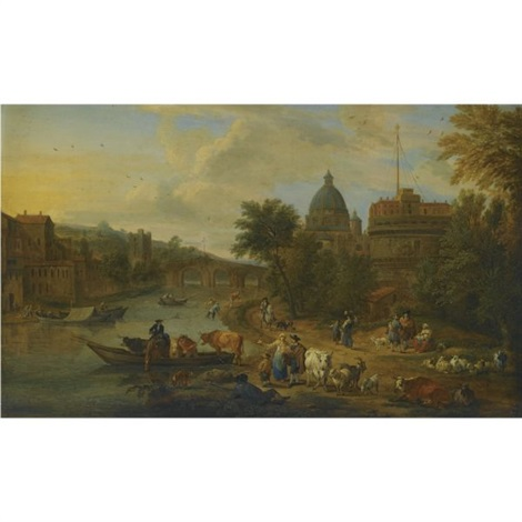 rome a capriccio view of the tiber with the castel santangelo peasants with their cattle on the river banks by mathys schoevaerdts