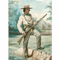 chief de la tribu des serpents oregon tenant un fusil dans un paysage by alexandre homo