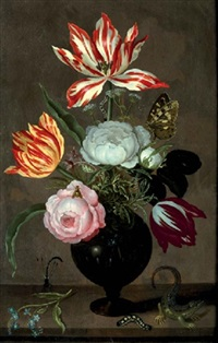 roses, tulips, bellflower, rosemary and caraway in a glass vase, with a sprig of forget-me-not, a damselfly, a caterpillar and a lizard, on a stone ledge by johannes bosschaert