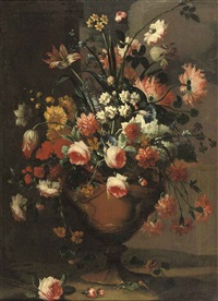 peonies, pink roses, lilies, tulips, daffodils and various other flowers in a vase by karel van vogelaer