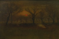 sunrise in the apple orchard by george inness