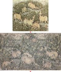bermain di padang; keluarga sapi (2 works) by i ketut gelgel