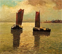 fishing boats on the sea by georg arnold