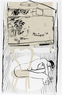 interior with still-life and nude and chair by brett whiteley