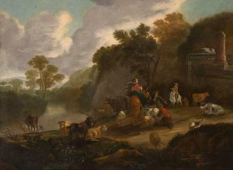 paisaje italiano con pastores by dirk van bergen