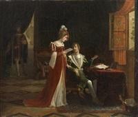 marguerite, reine de navarre, est surprise par françois ier son frere au moment ou elle lit la ballade de clement marot commençant par amour me voyant sans tristesse by jean baptiste vermay