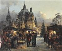 die gute alte zeit, weihnachtsmarkt vor dem berliner dom mit hell erleuchteten buden by detlev nitschke