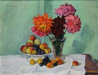 nature morte aux fruits et fleurs by franck innocent
