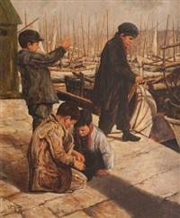 enfants jouant sur les quais du vieux-port by émile bouisson