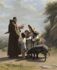 ein franziskanermönch begegnet kindern by alfred van (jacques) muyden