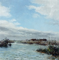 view of water and reeds by willem elisa roelofs