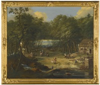 forest clearing with a sawmill and figures by a fountain by johann (jan) christian vollerdt