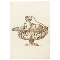 design for a covered sauce boat with sphinx by jacopo strada