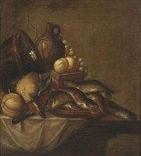 various fruits, copperware, a pitcher, a duck and fish on a stoneware platter, all on a partially draped table by harmen van steenwyck