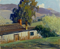 barn and trees (believed to be carmel) by arthur hill gilbert