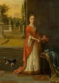 portrait of a young girl, in a white dress and red gown by mattheus verheyden