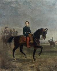 le prince impérial à cheval, devant un camp, probablement de chalons, à l'âge de 14 ans by oliver pichat