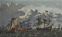 charles ii transferring from the royal yacht cleveland to the royal prince to hold a council-of-war on the thames estuary, 10th september by jacob knyff