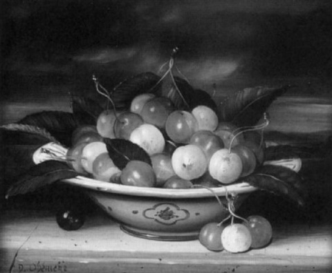 still life with cherries by dominique obeniche