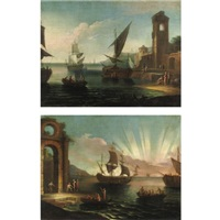 vedute costiere con figure e imbarcazioni (pair) by pietro antoniani
