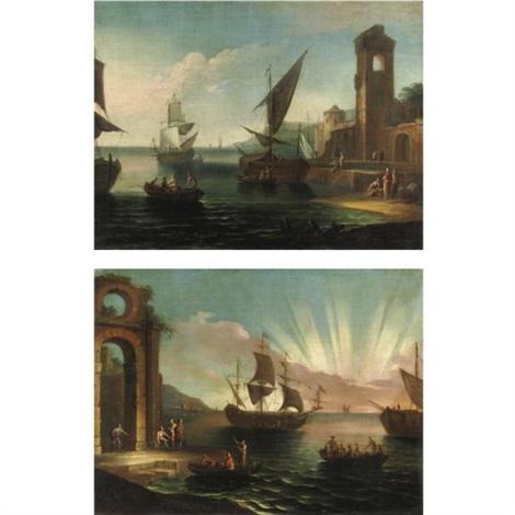 vedute costiere con figure e imbarcazioni pair by pietro antoniani