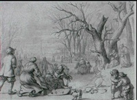 a winter landscape with figures skating on a frozen river by zacharias blyhooft