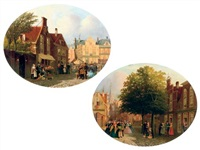 a lively market square (+ a musical gathering in scheveningen; pair) by joseph bles