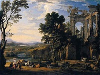 a classical landscape with drovers and animals resting on the banks of a river before a set of ruins, animals and figures crossing a bridge beyond by pierre patel