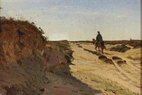 landscape with a man on a horse by hans ludvig smidth