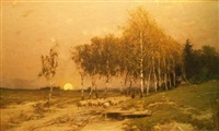 sheep in a wood at sunset by robert kluth