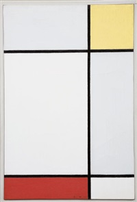 composition with yellow and red by piet mondrian