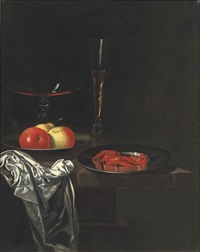 two venetian glasses, apples on a pewter plate by georg hainz