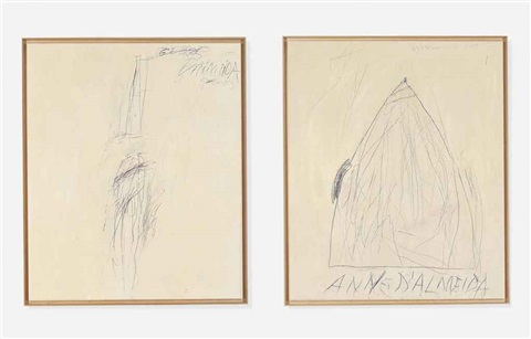 portrait of george dalmeida and portrait of anne dalmeida 2 works by cy twombly