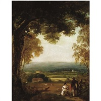 an extensive landscape with figures in the foreground by george hilditch