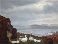 coastal scene with a girl and geese by wilhelm pacht