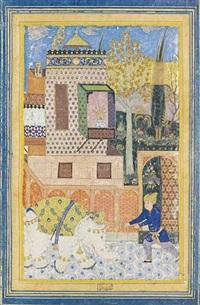 rustam kills the mad elephant by anonymous-persian-safavid (16)