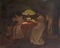 la lecture à la lueur de la lampe à pétrole by armand laureys